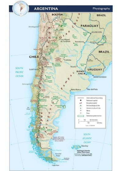 CIA Map of Argentina 2015 (Physiography) Including Falkland Islands. Print/Poster (5209)